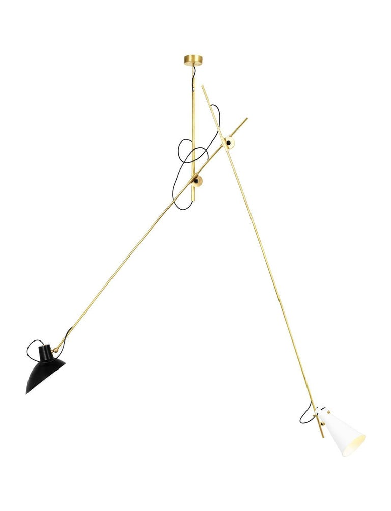 Vittoriano Viganò 'VV Suspension' lamp in black, white and brass for Astep. Viganò was the art director of Arteluce, the company founded by his creative partner Gino Sarfatti, and the visor was one of his most celebrated design series. Designed in