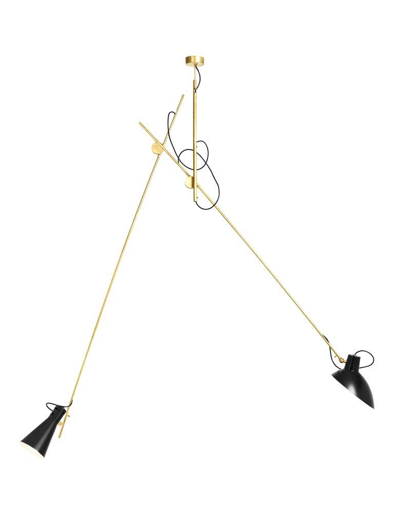 Italian Vittoriano Viganò 'VV Suspension' Lamp in Black, White and Brass For Sale