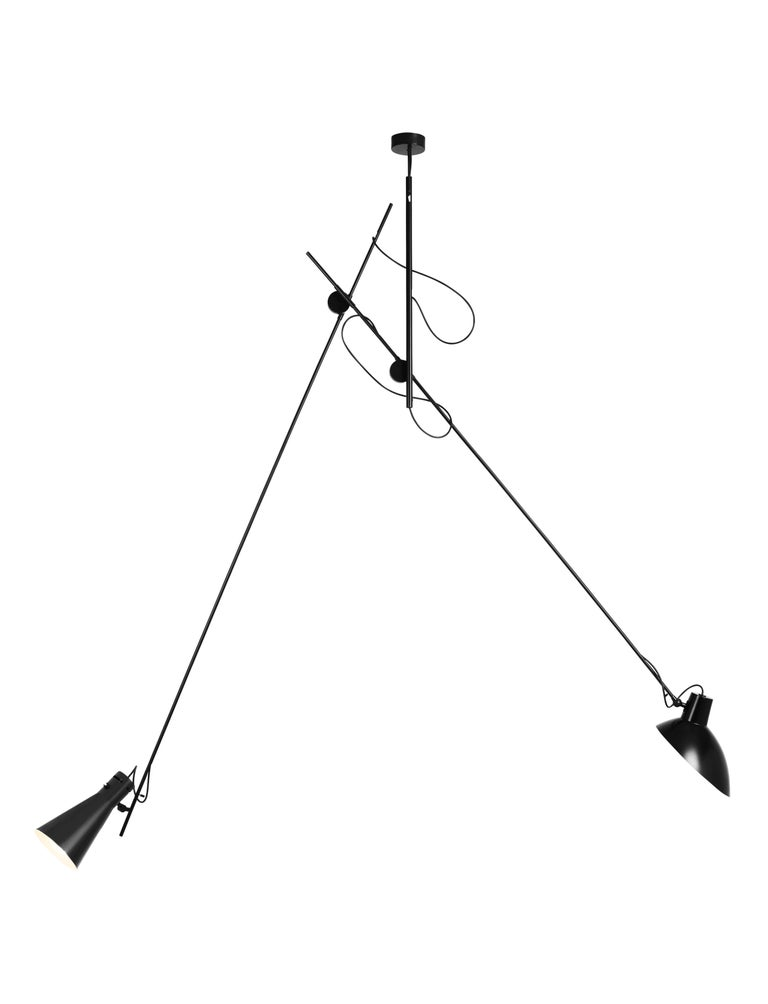 Vittoriano Viganò 'VV Suspension' Lamp in Black, White and Brass In Excellent Condition For Sale In Glendale, CA