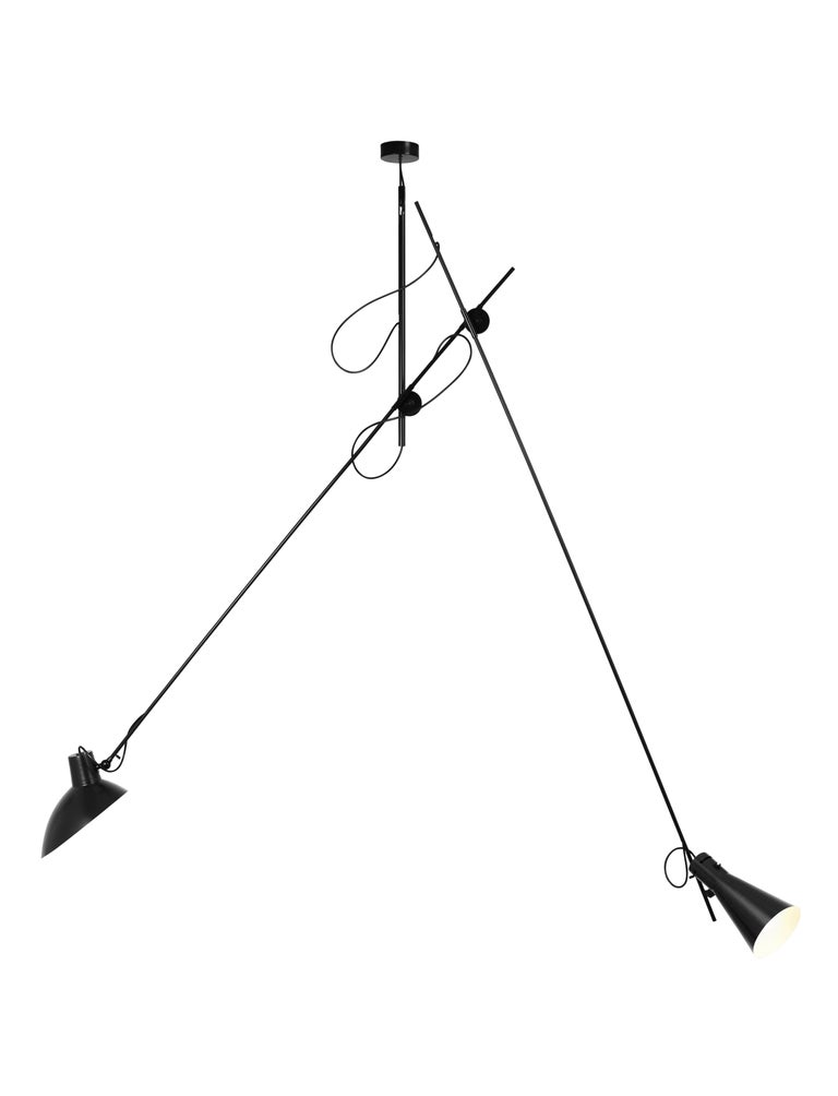 Contemporary Vittoriano Viganò 'VV Suspension' Lamp in Black, White and Brass For Sale