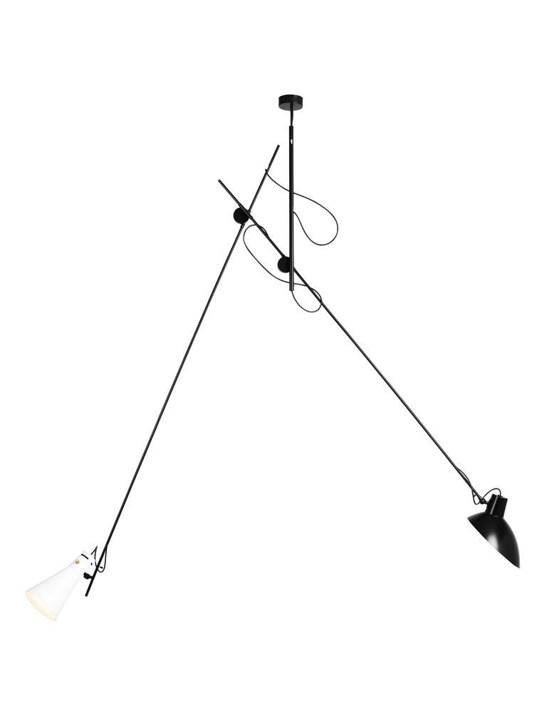 Aluminum Vittoriano Viganò 'VV Suspension' Lamp in Black, White and Brass For Sale