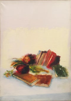 'Raffi is in Sicily' 1986 Oil on Canvas Still Life Painting White and Warm Color