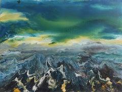 Vittorio Bellini 'Landscape' 2002-2003 Oil Enamel Canvas Sky Sea Colorful Blue