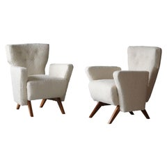 Vittorio Bini, Rare Lounge Chairs, Cherrywood, White Bouclé, Italy, 1948