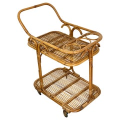 Vittorio Bonacina Bamboo Rattan Serving Bar Trolley Cart, 1960s, Italy