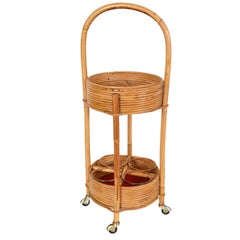 Italian Bamboo, Rattan and Red Velvet Bar Trolley, 1960s