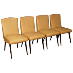 Vittorio Dassi 20th Century Faux Leather Italian Design 4 Chairs, 1950