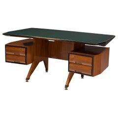 Vittorio Dassi Desk in Walnut with Glass Top