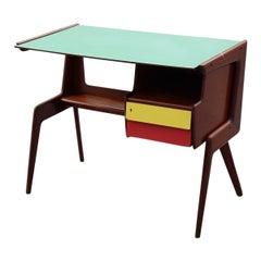 Vittorio Dassi Desk Minimal Geometric Mahogany and Laminate Midcentury