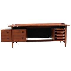 Vittorio Dassi Desk Solid Teak Midcentury Italian Design Minimal Rational