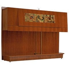Vittorio Dassi Illuminated Dry Bar Cabinet with Cubism Painting