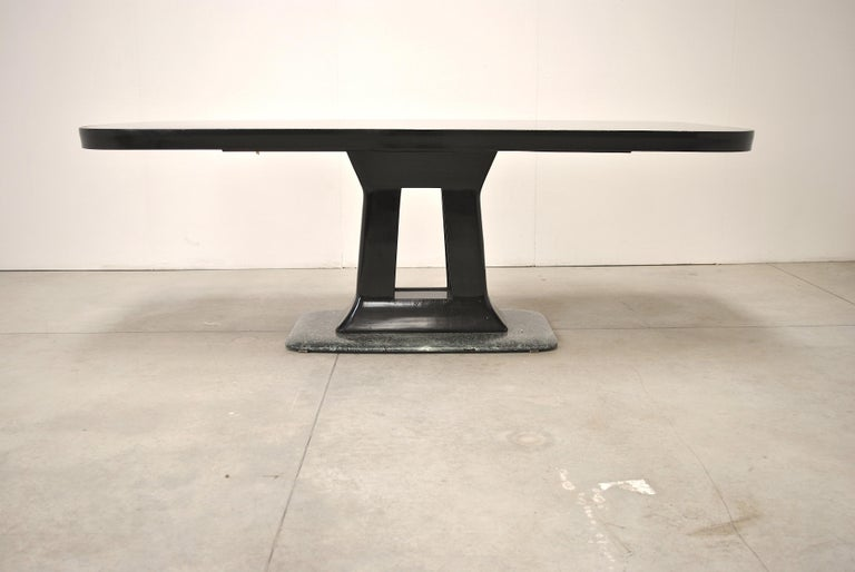 Mid-20th Century Vittorio Dassi Italian Art Deco Dining Table with Marble Base, 1940s For Sale