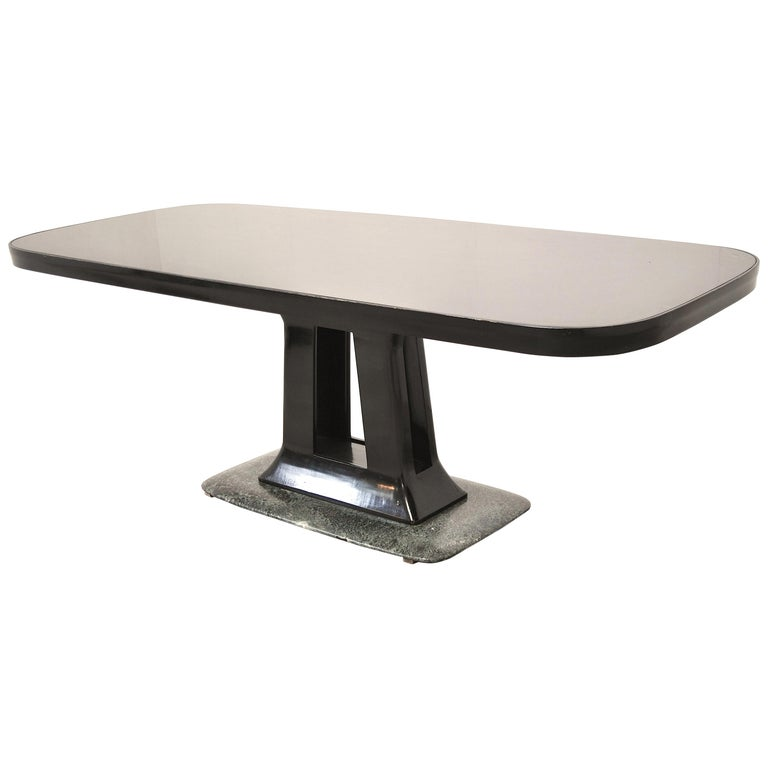 Vittorio Dassi Italian Art Deco Dining Table with Marble Base, 1940s For Sale