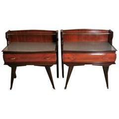 Vittorio Dassi Italian Designer Pair of Rosewood Nightstands Glass Tops, 1959