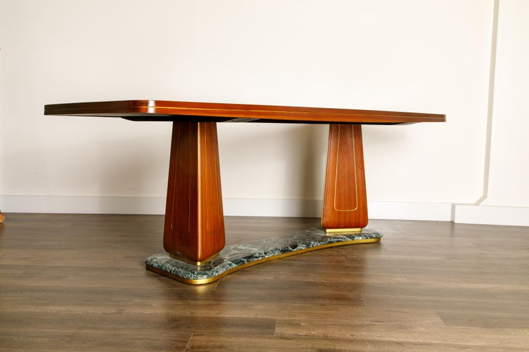 Vittorio Dassi Mahogany, Brass, Green Glass and Marble Dining Table, 1950s Italy For Sale 4