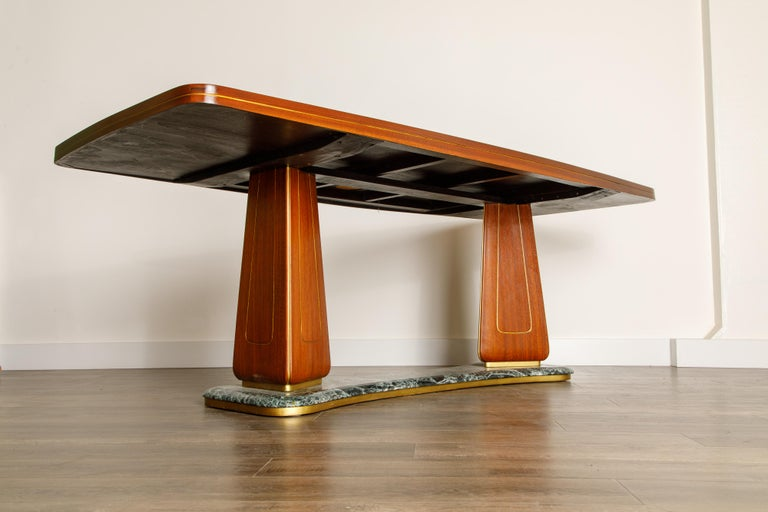 Vittorio Dassi Mahogany, Brass, Green Glass and Marble Dining Table, 1950s Italy For Sale 5