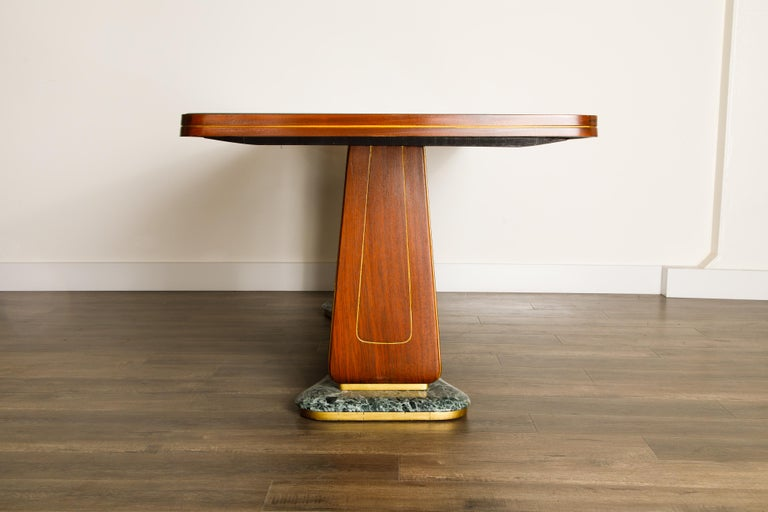 Vittorio Dassi Mahogany, Brass, Green Glass and Marble Dining Table, 1950s Italy For Sale 6