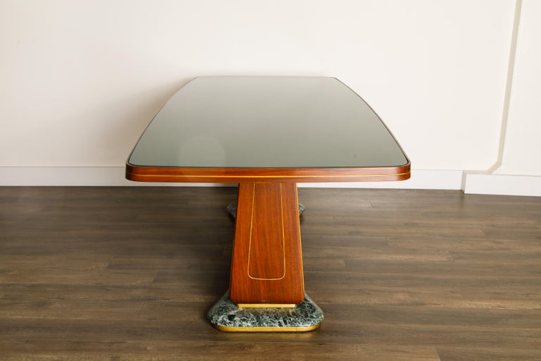 Vittorio Dassi Mahogany, Brass, Green Glass and Marble Dining Table, 1950s Italy For Sale 7