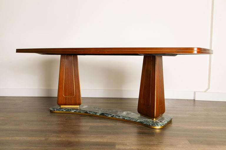 Vittorio Dassi Mahogany, Brass, Green Glass and Marble Dining Table, 1950s Italy For Sale 8