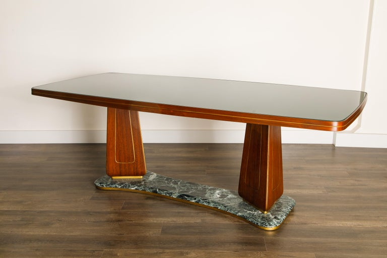 Vittorio Dassi Mahogany, Brass, Green Glass and Marble Dining Table, 1950s Italy For Sale 9