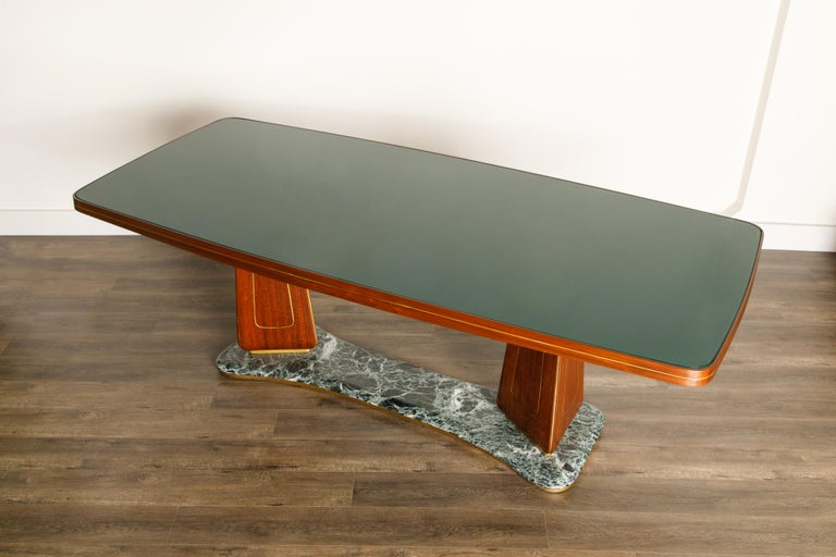 Vittorio Dassi Mahogany, Brass, Green Glass and Marble Dining Table, 1950s Italy For Sale 10