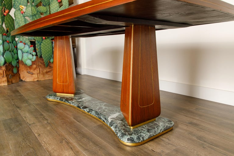 Vittorio Dassi Mahogany, Brass, Green Glass and Marble Dining Table, 1950s Italy For Sale 12