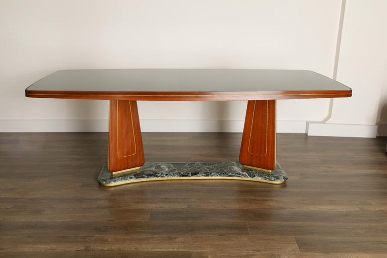 Mid-Century Modern Vittorio Dassi Mahogany, Brass, Green Glass and Marble Dining Table, 1950s Italy For Sale