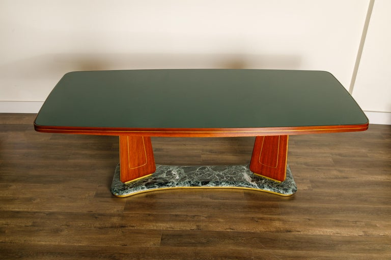 Italian Vittorio Dassi Mahogany, Brass, Green Glass and Marble Dining Table, 1950s Italy For Sale