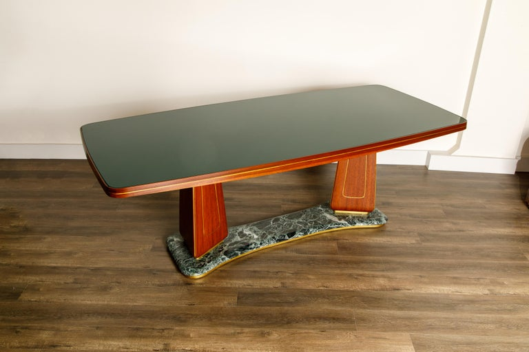 Vittorio Dassi Mahogany, Brass, Green Glass and Marble Dining Table, 1950s Italy In Excellent Condition For Sale In Los Angeles, CA