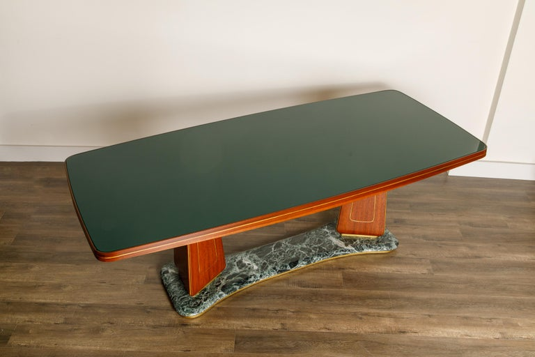 Mid-20th Century Vittorio Dassi Mahogany, Brass, Green Glass and Marble Dining Table, 1950s Italy For Sale