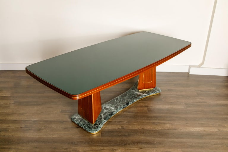 Vittorio Dassi Mahogany, Brass, Green Glass and Marble Dining Table, 1950s Italy For Sale 2