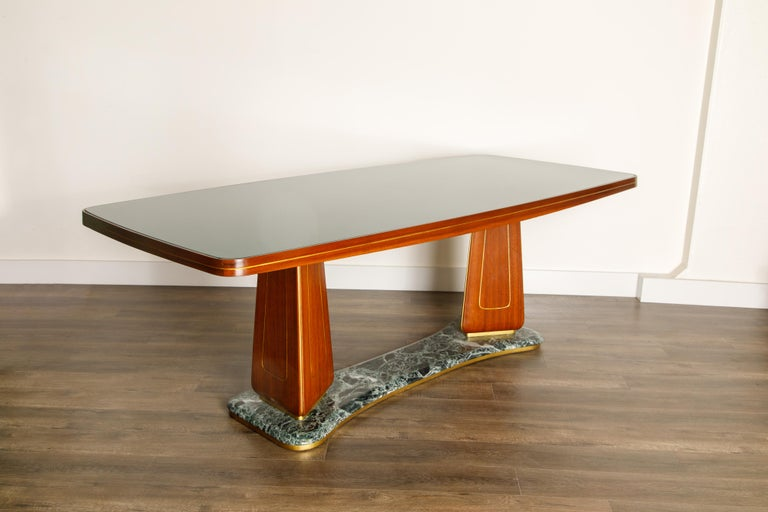 Vittorio Dassi Mahogany, Brass, Green Glass and Marble Dining Table, 1950s Italy For Sale 3
