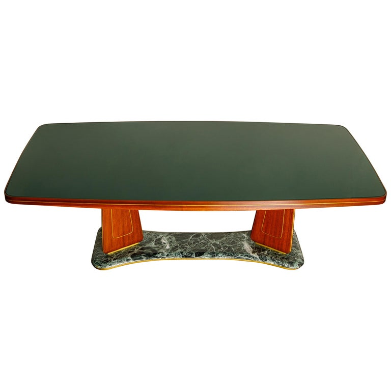 Vittorio Dassi Mahogany, Brass, Green Glass and Marble Dining Table, 1950s Italy For Sale