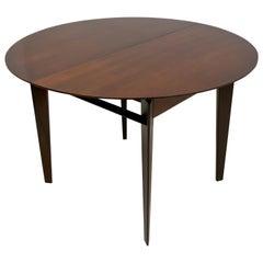 Vittorio Dassi Mid-Century Modern Italian Teak Wood Round Dining Table, 1950s