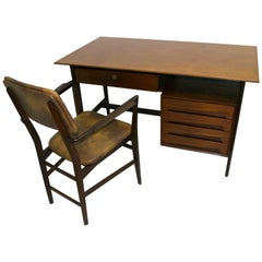 Vittorio Dassi Mid-Century Modern Italian Teakwood Writing Desk and Chair, 1950s