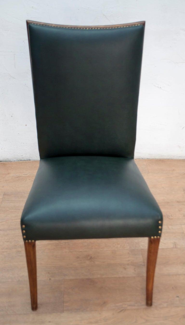 Vittorio Dassi Mid-Century Modern Italian Walnut Eight Dining Chairs, 1950s For Sale 5