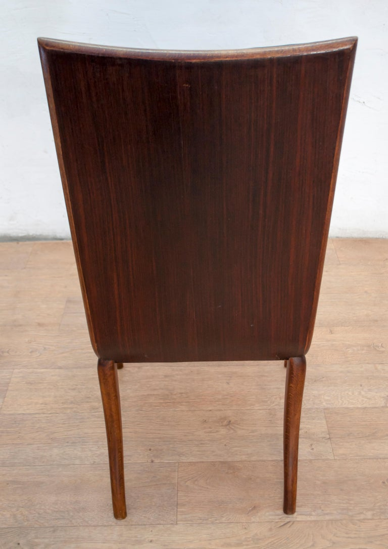 Vittorio Dassi Mid-Century Modern Italian Walnut Eight Dining Chairs, 1950s For Sale 6