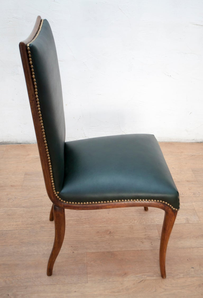 Vittorio Dassi Mid-Century Modern Italian Walnut Eight Dining Chairs, 1950s For Sale 7