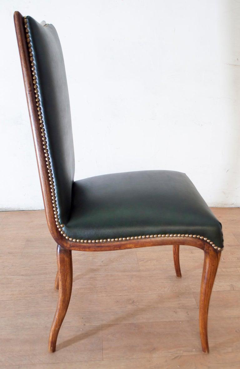 Vittorio Dassi Mid-Century Modern Italian Walnut Eight Dining Chairs, 1950s For Sale 8