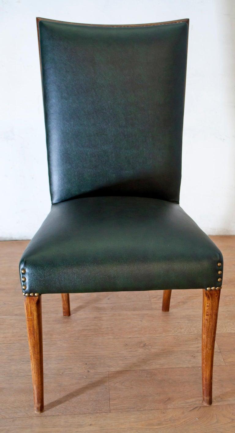 Vittorio Dassi Mid-Century Modern Italian Walnut Eight Dining Chairs, 1950s For Sale 9