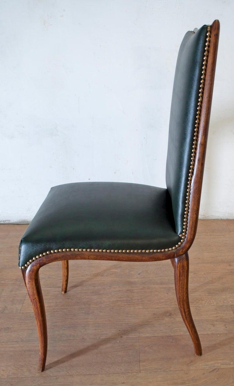 Vittorio Dassi Mid-Century Modern Italian Walnut Eight Dining Chairs, 1950s For Sale 10