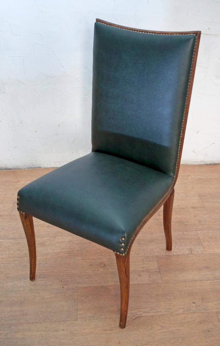 Vittorio Dassi Mid-Century Modern Italian Walnut Eight Dining Chairs, 1950s For Sale 14