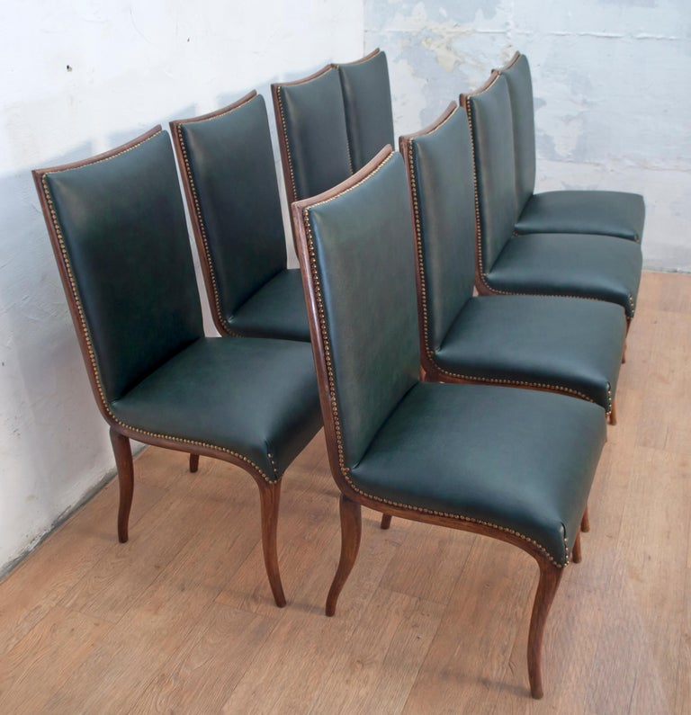 Mid-20th Century Vittorio Dassi Mid-Century Modern Italian Walnut Eight Dining Chairs, 1950s For Sale