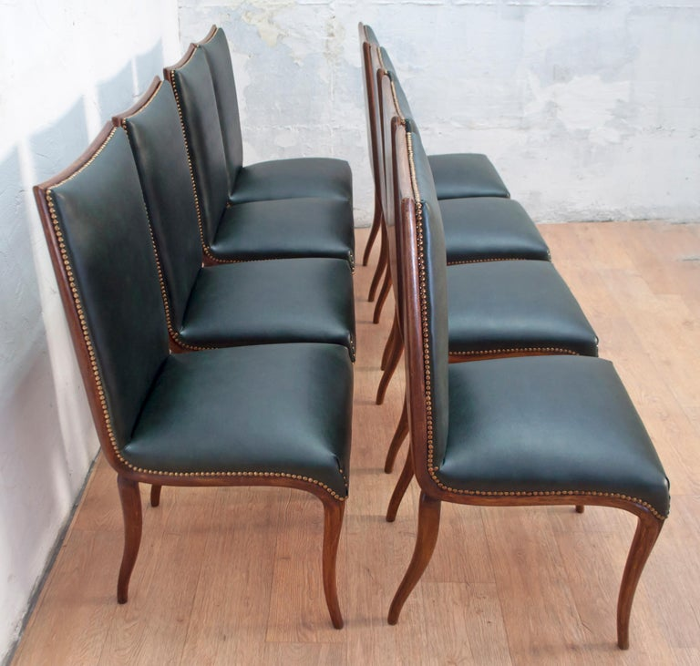 Faux Leather Vittorio Dassi Mid-Century Modern Italian Walnut Eight Dining Chairs, 1950s For Sale