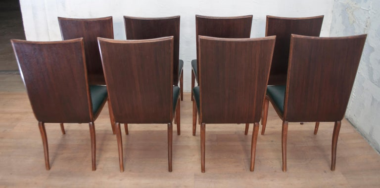 Vittorio Dassi Mid-Century Modern Italian Walnut Eight Dining Chairs, 1950s For Sale 2