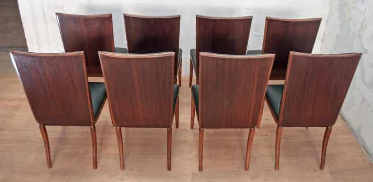 Vittorio Dassi Mid-Century Modern Italian Walnut Eight Dining Chairs, 1950s For Sale 3