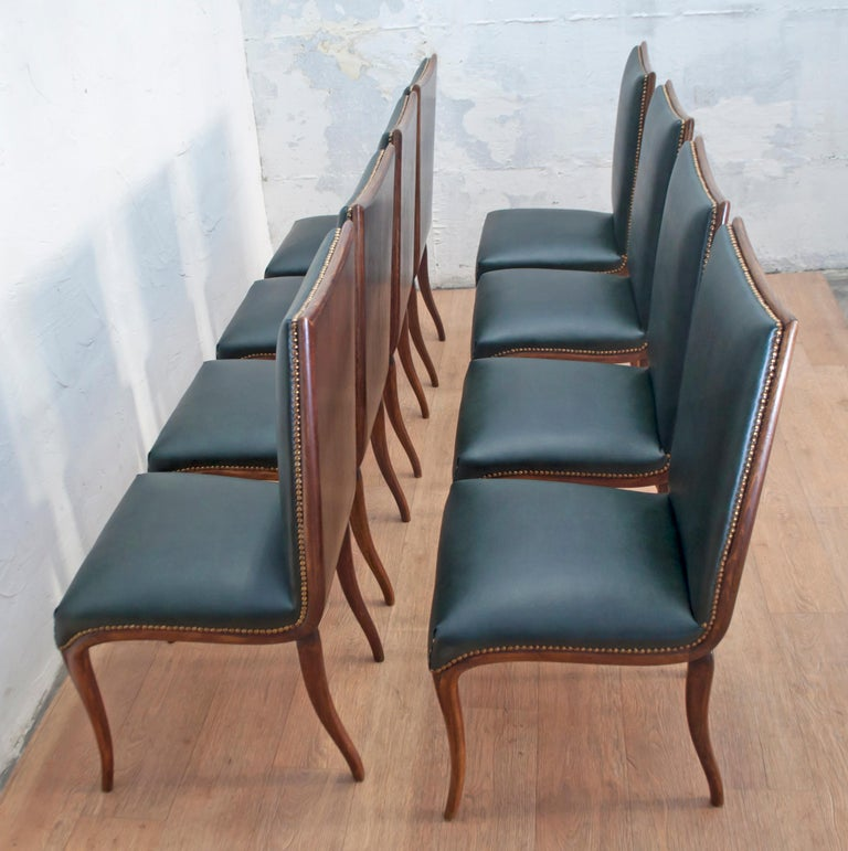 Vittorio Dassi Mid-Century Modern Italian Walnut Eight Dining Chairs, 1950s For Sale 4