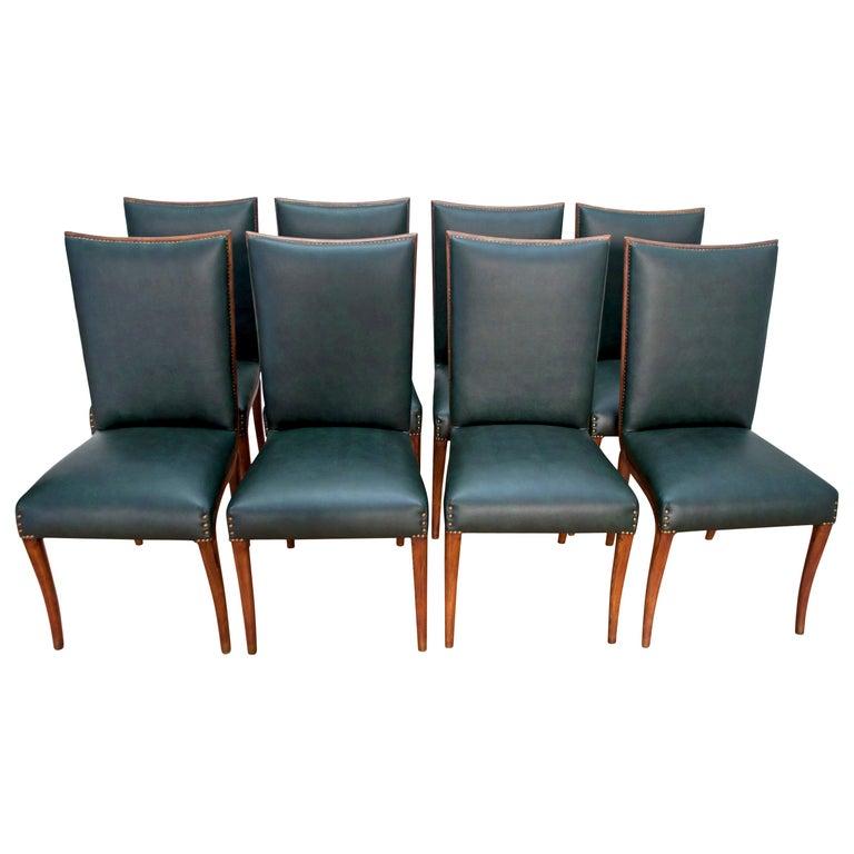 Vittorio Dassi Mid-Century Modern Italian Walnut Eight Dining Chairs, 1950s For Sale