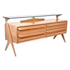 Vittorio Dassi Midcentury Italian Maple Wood Sideboard with Glass Shelf, 1950s