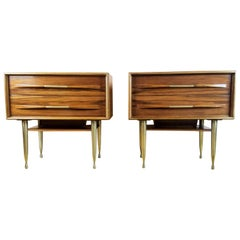 Vittorio Dassi Pair of End Tables / Nightstands, Italy, Mid-1950s